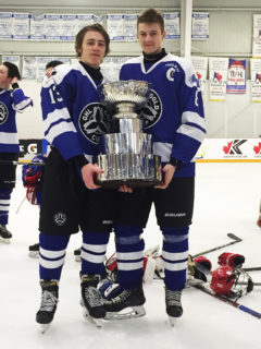 Firebirds' prospects Braden Kressler (Left) and Brennan Othmann (RIght) celebrate with the OHL Gold Cup May 5th, 2019.