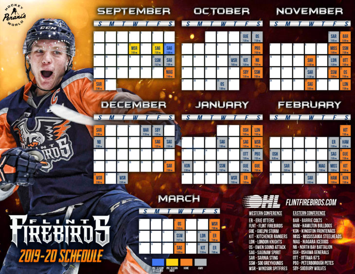 Flint Firebirds 2019-2020 Printable OHL Hockey Schedule