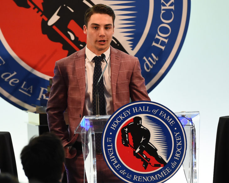 Nicholas Canade of the Mississauga Steelheads was presented with the Dan Snyder Memorial Trophy as the Humanitarian of the Year at the 2018-19 OHL Awards Ceremony at the Hockey Hall of Fame in Toronto on Wednesday June 5, 2019. Photo by Aaron Bell/CHL Images