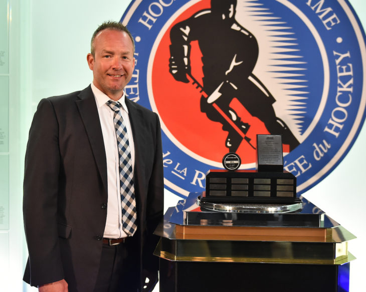 Geoff Rutherford was presented with the Ken Bodindestel Character Award for Officials at the 2018-19 OHL Awards Ceremony at the Hockey Hall of Fame in Toronto on Wednesday June 5, 2019. Photo by Aaron Bell/CHL Images