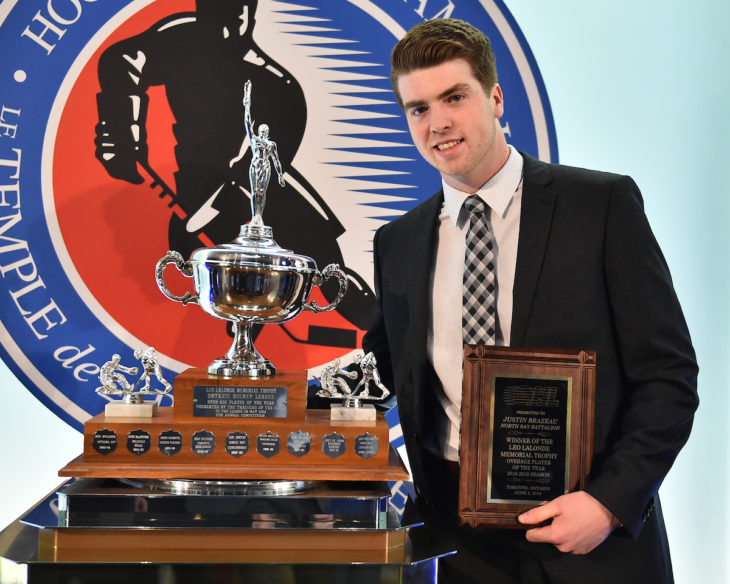 Justin Brazeau of the North Bay Battalion was presented with the Leo Lalonde Memorial Trophy as the Top Overage Player at the 2018-19 OHL Awards Ceremony at the Hockey Hall of Fame in Toronto on Wednesday June 5, 2019. Photo by Aaron Bell/CHL Images