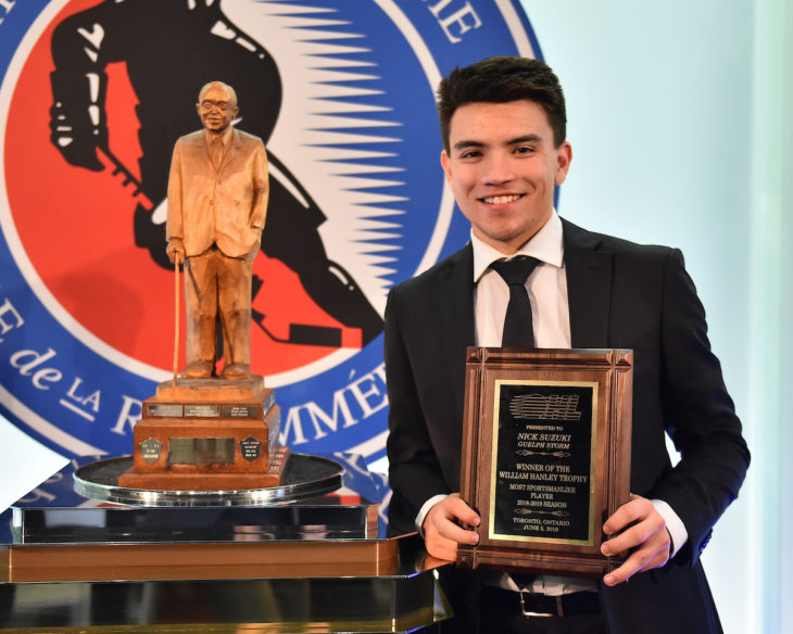 Nick Suzuki of the Guelph Storm was presented with the William Hanley Memorial Trophy as the Most Sportsmanlike Player at the 2018-19 OHL Awards Ceremony at the Hockey Hall of Fame in Toronto on Wednesday June 5, 2019. Photo by Aaron Bell/CHL Images