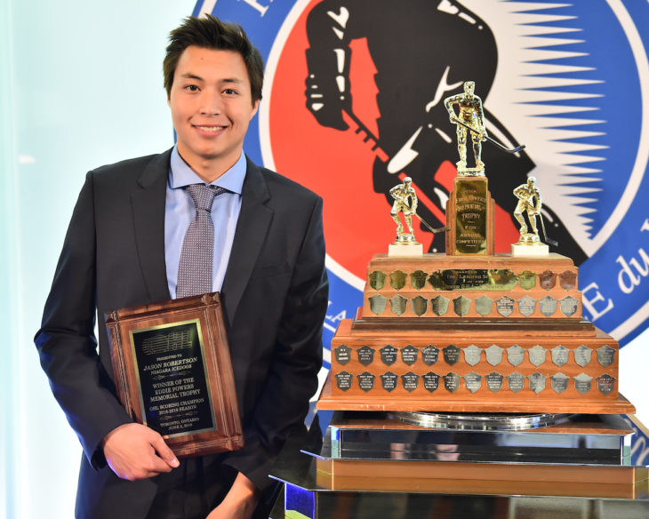 Jason Robertson of the Niagara IceDogs was presented with the Eddie Powers Memorial Trophy as the Top Scorer at the 2018-19 OHL Awards Ceremony at the Hockey Hall of Fame in Toronto on Wednesday June 5, 2019. Photo by Aaron Bell/CHL Images