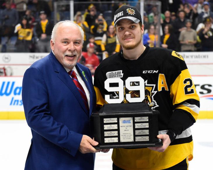 Robert Thomas of the Hamilton Bulldogs won the Wayne Gretzky 99 Award as the MVP of the OHL playoffs.