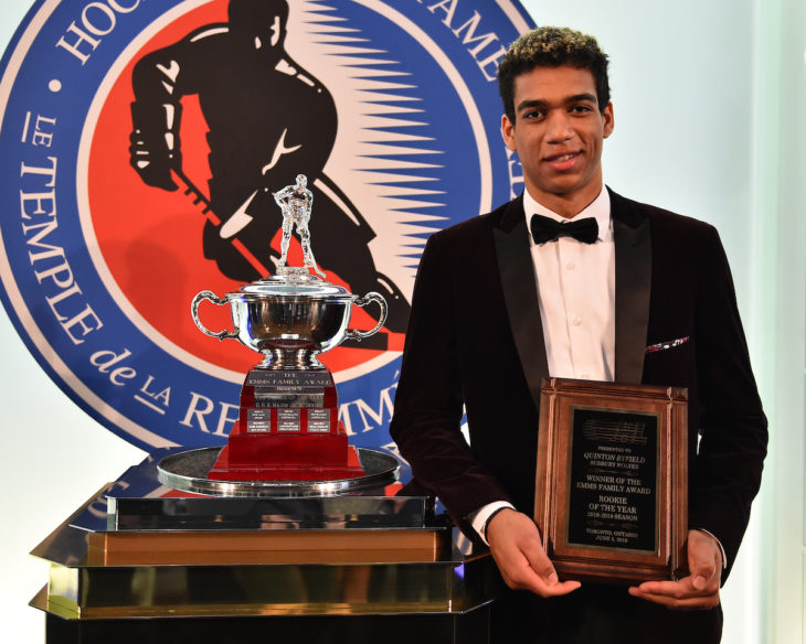 Quinton Byfield of the Sudbury Wolves was presented with the Emms Family Trophy as the Rookie of the Year at the 2018-19 OHL Awards Ceremony at the Hockey Hall of Fame in Toronto on Wednesday June 5, 2019. Photo by Aaron Bell/CHL Images