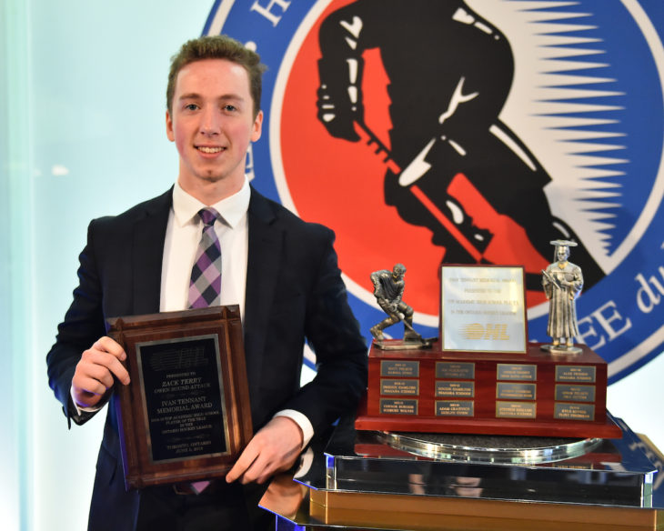 Zack Terry of the Guelph Storm was presented with the Ivan Tennant Memorial Award as Top Academic High School Player at the 2018-19 OHL Awards Ceremony at the Hockey Hall of Fame in Toronto on Wednesday June 5, 2019. Photo by Aaron Bell/CHL Images