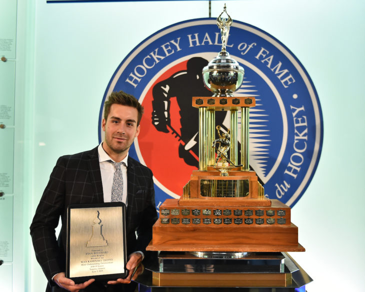 Evan Bouchard of the London Knights was presented with the Max Kaminsky Trophy as the Most Outstanding Defencemena at the 2018-19 OHL Awards Ceremony at the Hockey Hall of Fame in Toronto on Wednesday June 5, 2019. Photo by Aaron Bell/CHL Images