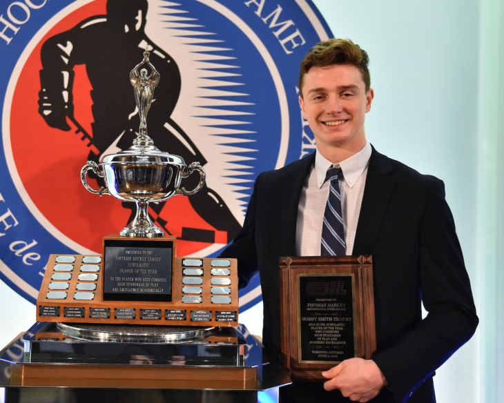 Thomas Harley of the Mississauga Steelheads was presented with the Bobby Smith Trophy as the Scholastic Player of the Year at the 2018-19 OHL Awards Ceremony at the Hockey Hall of Fame in Toronto on Wednesday June 5, 2019. Photo by Aaron Bell/CHL Images