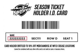 Season Ticket Member: Patron Number